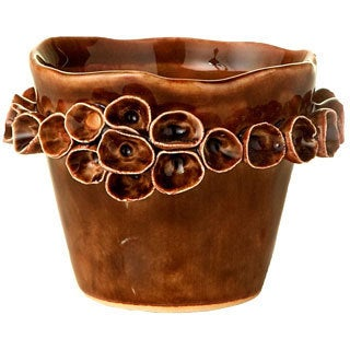 Ceramic Coral Pattern Small Brown Pots (Set of 4)