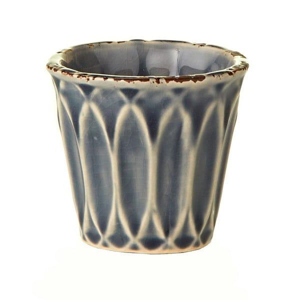 Ceramic Glazed Small Blue Pots (Set of 6)
