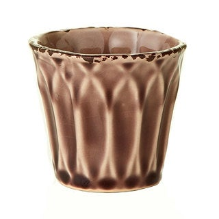 Ceramic Glazed Small Brown Pots (Set of 6)