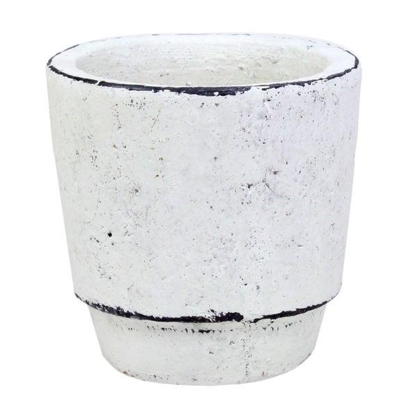 Cement Fleur Small White Pot