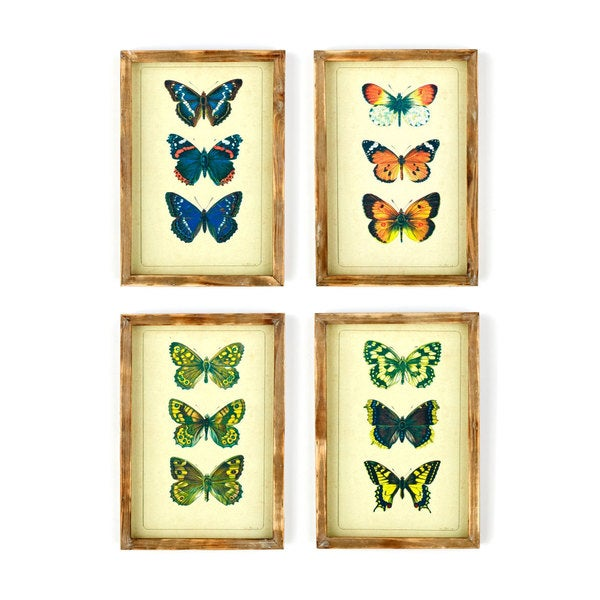 Assorted Wood Frame Butterfly Prints (Set of 4)
