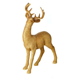 Resin Glittered 14-inch Standing Deer