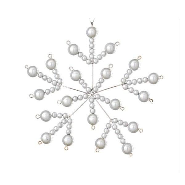 Iridescent Bead White Snowflake Ornament