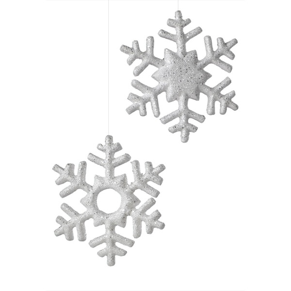 Glittered Snowflake 2-piece Assorted Ornament Set