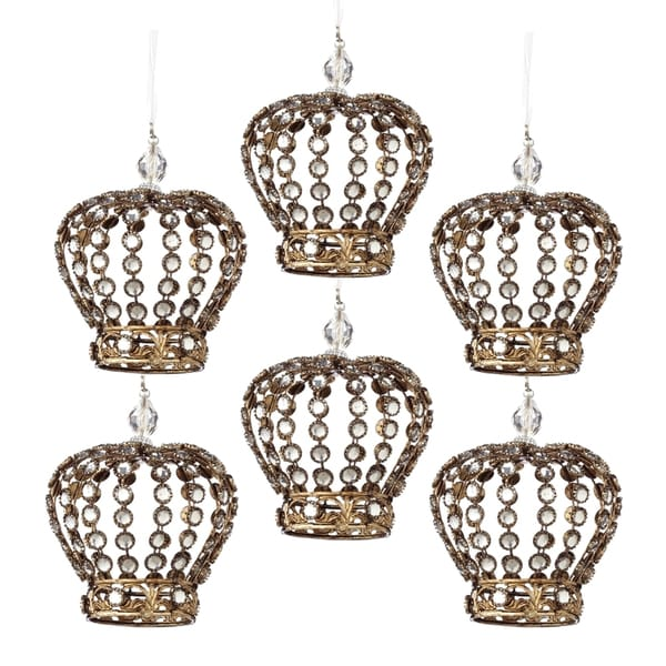 Jeweled Crown Christmas Ornament (Pack of 6)