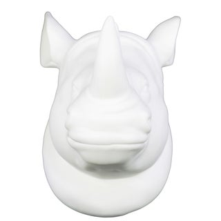 White Porcelain Rhino Head Wall Mount