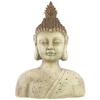 Bust Large Beige Fiberstone Buddha