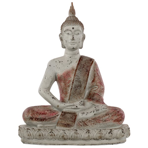 Distressed Light Grey Fiberstone Sitting Buddha