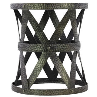 Round Charcoal Grey Metal Stool