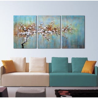 'Plum Blossom In The Rain' 3-piece Gallery-wrapped Canvas Art Set