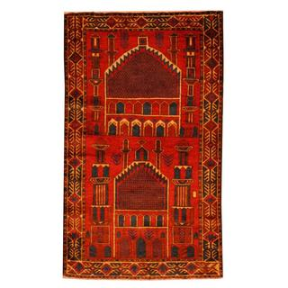 Herat Oriental Semi-antique Afghan Hand-knotted Tribal Balouchi Red/ Ivory Wool Rug (2'7 x 4'5)