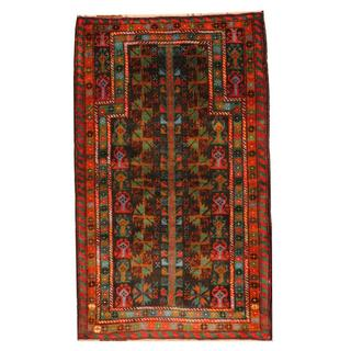 Herat Oriental Semi-antique Afghan Hand-knotted Tribal Balouchi Black/ Gold Wool Rug (2'10 x 4'8)