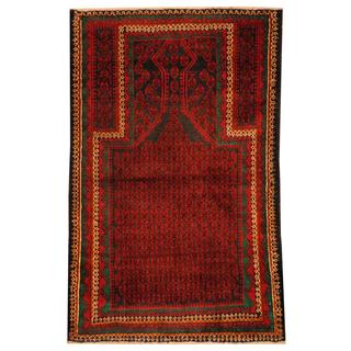 Herat Oriental Semi-antique Afghan Hand-knotted Tribal Balouchi Navy/ Red Wool Rug (2'11 x 4'7)