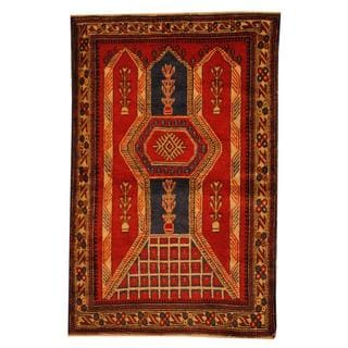 Herat Oriental Semi-antique Afghan Hand-knotted Tribal Balouchi Red/ Ivory Wool Rug (3' x 4'6)
