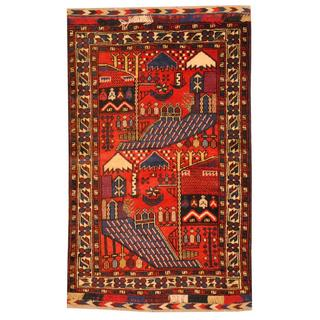 Herat Oriental Semi-antique Afghan Hand-knotted Tribal Balouchi Red/ Ivory Wool Rug (2'2 x 4'5)