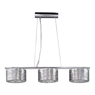 Inca Linear Chrome Metal 3-Light Pendant