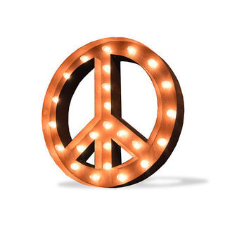 Indoor/ Outdoor Commercial Grade Rusted Steel Peace Symbol Iconic Marquee Light