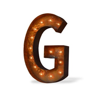 Indoor/ Outdoor Rusted Steel Alphabet Letter 'G' Iconic Marquee Light