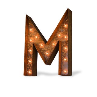 Indoor/ Outdoor Rusted Steel Alphabet Letter 'M' Iconic Marquee Light
