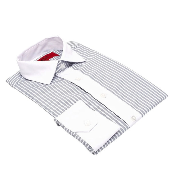 Elie Balleh Men's Slim Fit Neutral Striped Dress Shirt