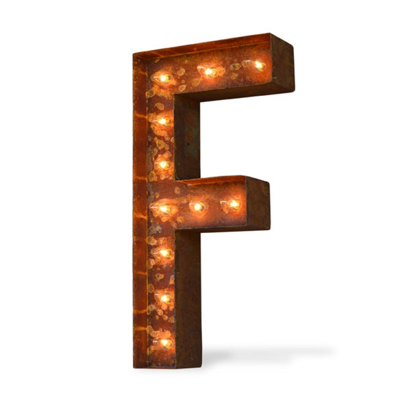 Letter F Rusted Finish Iconic Marquee Sign