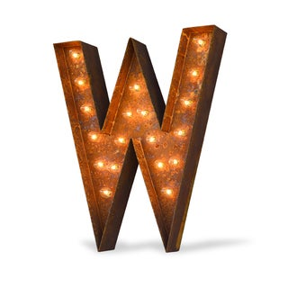 Indoor/ Outdoor Rusted Steel Alphabet Letter 'W' Iconic Marquee Light