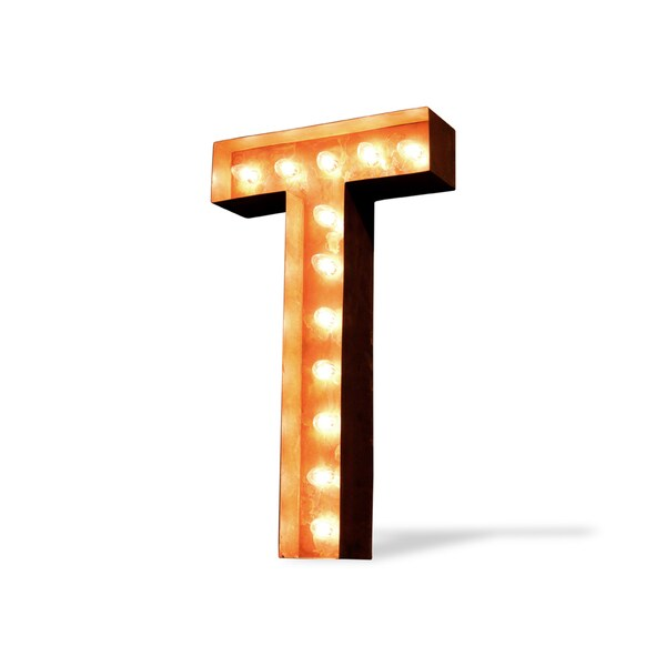 Letter T Rusted Finish Iconic Marquee Sign