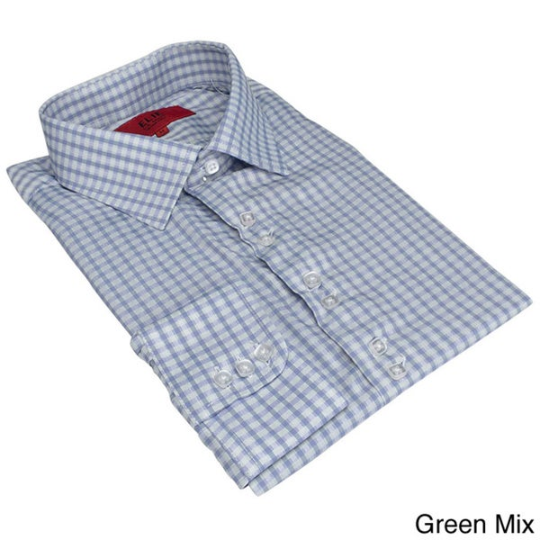 Elie Balleh Men's Slim Fit Gingham Plaid Dress Shirt(XL/White) (As Is Item)