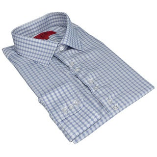 Elie Balleh Men's Slim Fit Gingham Plaid Dress Shirt