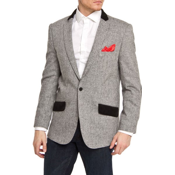 Elie Balleh Men's Slim Fit Grey and Black One-button Blazer