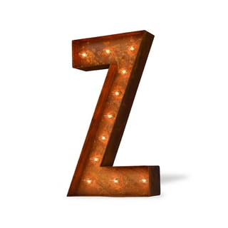 Letter Z Rusted Finish Iconic Marquee Sign