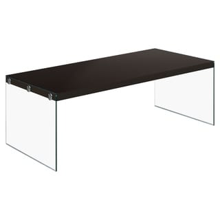 Cappucino Hollow-Core Tempered Glass Cocktail Table