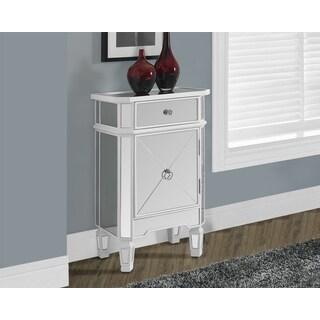 Satin White Mirrored 1-Drawer Accent Cabinet