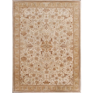 Hand-tufted Traditional Beige Wool Rug (9' x 12')