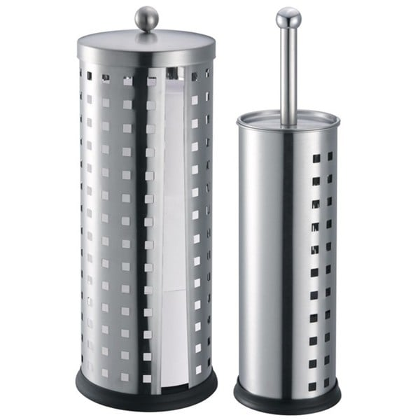 Toilet Brush Holder and Toilet Paper Holder Set Silver