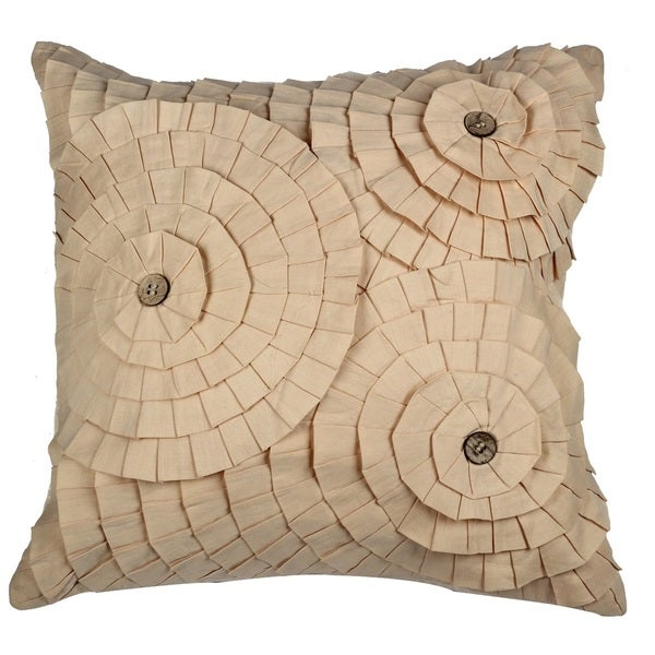 Ruffles Beige Cotton Decorative Throw Pillow