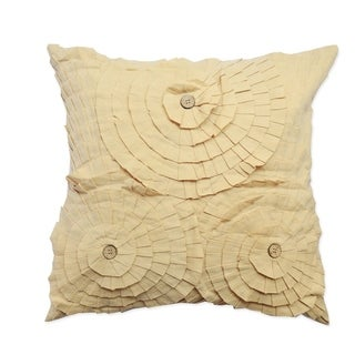 Ruffles Beige Cotton Decorative Throw Pillow