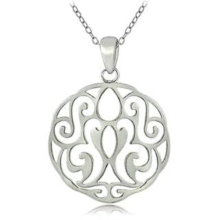 Mondevio Sterling Silver Scroll Filigree Necklace