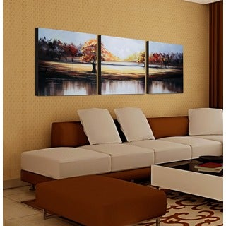'Seasons in the Sun' 3-piece Hand-painted Gallery-wrapped Canvas Art Set
