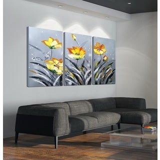 'The Blooming Yellow Flowers' 3-piece Hand-painted Gallery-wrapped Canvas Art Set