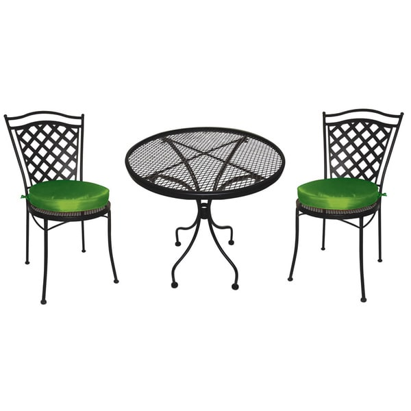charleston wrought iron 3 pc patio furniture set bistro