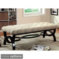 Furniture of America Chrissie Tufted Flax Bench
