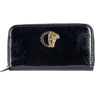 Versace Black Snake-embossed Leather Wallet