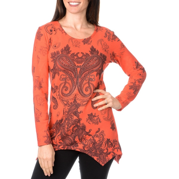 Nancy Yang Women's Paisley Print Embellished Knit Top