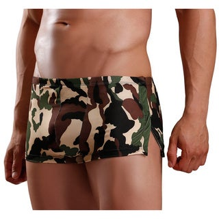 Fantasy Lingerie Excite for Men Camouflage Print Boxer Briefs with Snap Side Opening