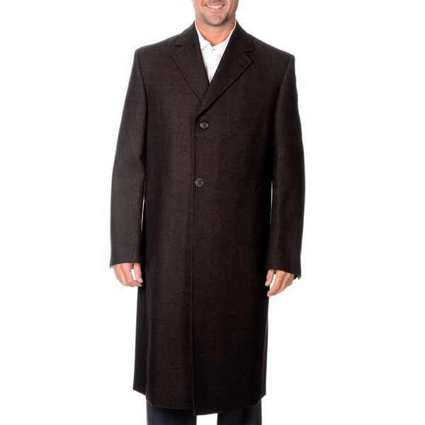 Linea Uomo Men's Brown Long Wool Overcoat