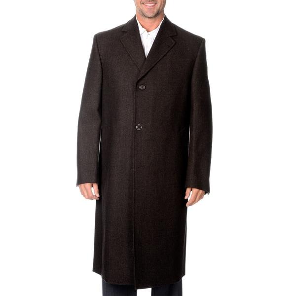 Linea Uomo Men's Brown Long Wool Overcoat