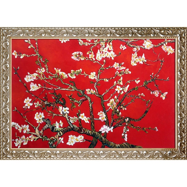 Vincent Van Gogh Branches Of An Almond Tree In Blossom (Artist Interpretation in Red) Canvas Art