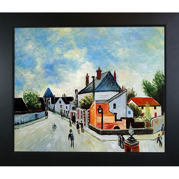 Alfred Sisley Street in Moret (Porte de Bourgogne from across the Bridge) Hand-painted Framed Canvas