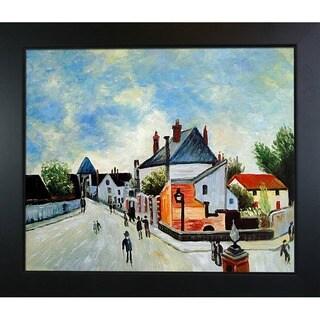 Alfred Sisley Street in Moret (Porte de Bourgogne from across the Bridge) Hand-painted Framed Canvas